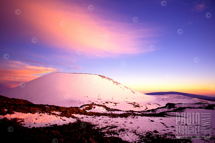 Snowcapped Puu Lilinoe (crater) at 12,987 feet elevation, just below the summit of Mauna Kea