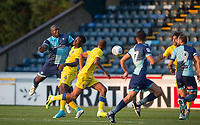 Adebayo Akinfenwa of Wycombe Wanderers heads a shot towards goal during the Friendly match between Wycombe Wanderers and AFC Wimbledon at Adams Park, High Wycombe, England on 25 July 2017. Photo by Andy Rowland.