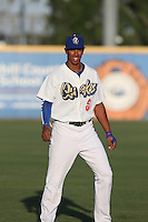 Jacob Scavuzzo (6) of the Rancho Cucamonga Quakes warms up before a game against the High Desert Mavericks at LoanMart Field on August 3, 2015 in Rancho Cucamonga, California. Rancho Cucamonga defeated High Desert, 2-1. (Larry Goren/Four Seam Images)