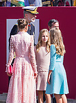 King Felipe VI, Queen Letizia of Spain,  Princess of Asturias Leonor and Infanta Sofia  during the Military parade because of the Spanish National Holiday. October 12, 2019.. (ALTERPHOTOS/ Francis Gonzalez)