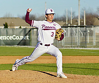 Westside Eagle Observer/RANDY MOLL<br /> Isiah Lemke winds up to throw a pitch during play in Gentry on March 10, 2020, against Lincoln.