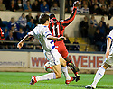 GRANT EVANS CATCHES NIGEL HASSELBANK FOR ST MIRREN'S PENALTY