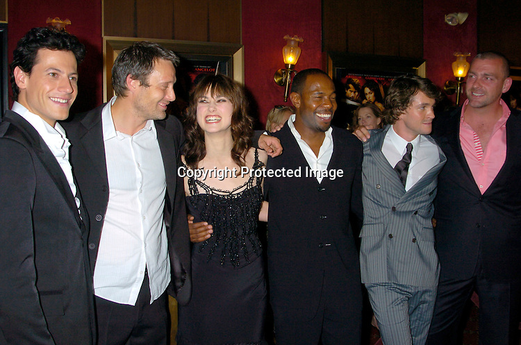 """Ioan Gruffudd, Mads Mikkelson, Keira Knightley, Director Antoine Fuqua  and Hugh Dancy and Ray Stevenson..at the World Premiere of """"King Arthur"""" on June 28, 2004 at ..the Ziegfeld Theatre. ..Photo by Robin Platzer, Twin Images"""