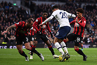 30th November 2019; Tottenham Hotspur Stadium, London, England; English Premier League Football, Tottenham Hotspur versus AFC Bournemouth; Arnaut Danjuma and Steve Cook of Bournemouth defend the attack from Dele Alli of Tottenham Hotspur  - Strictly Editorial Use Only. No use with unauthorized audio, video, data, fixture lists, club/league logos or 'live' services. Online in-match use limited to 120 images, no video emulation. No use in betting, games or single club/league/player publications