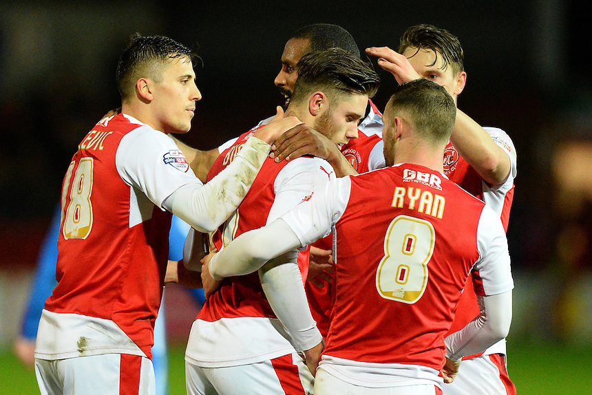 Fleetwood Town's Wes Burns celebrates scoring the first goal with his team-mates<br /> <br /> Photographer Richard Martin-Roberts/CameraSport<br /> <br /> Football - The Football League Sky Bet League One - Fleetwood Town v Peterborough United - Tuesday 5th April 2016 - Highbury Stadium - Fleetwood   <br /> <br /> &copy; CameraSport - 43 Linden Ave. Countesthorpe. Leicester. England. LE8 5PG - Tel: +44 (0) 116 277 4147 - admin@camerasport.com - www.camerasport.com