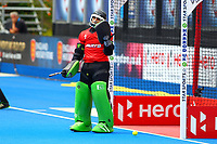 Pakistan goalkeeper Amjad Ali fails to save Argentina's penalty shot during the Hockey World League Quarter-Final match between Argentina and Pakistan at the Olympic Park, London, England on 22 June 2017. Photo by Steve McCarthy.