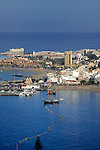 Elevated view of harbour and town, Los Cristianos,Tenerife, Canary Islands