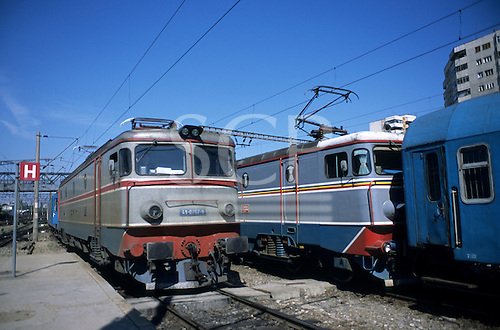 Bucharest, Romania. Gara de Nord railway station; electric locomotives.