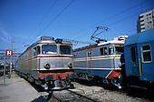 Bucharest, Romania. Gara de Nord railway station; electric locomotives.
