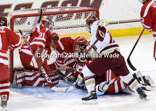 Jason Lawrence (Boston University - 21), Kieran Millan (Boston University - 31)., Chris Higgins (Boston University - 10)T, Kevin Shattenkirk (Boston University - 3), Ben Smith (Boston College - 12) - The Boston University Terriers defeated the Boston College Eagles 3-1 at Kelley Rink in Conte Forum in Chestnut Hill, Massachusetts.