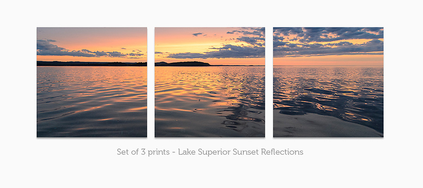 Display a print in a different way with this 3-print photo split of a summer sunset reflecting off the glassy Lake Superior water.