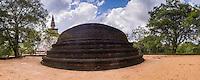 Panoramic photo at Kiri Vehera Dagoba in the Ancient City of Polonnaruwa, UNESCO World Heritage Site, Sri Lanka, Asia. This is a panoramic photo of Kiri Vehera Dagoba, a Dagoba in the Ancient City of Polonnaruwa in the 'cultural triangle' of Sri Lanka, Asia. Kiri Vehera Dagobda is one of the best preserved Dagobas in the Ancient City of Polonnaruwa.