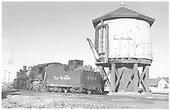 3/4 rear fireman side view of K-36 #486 at Antonito water tank.<br /> D&amp;RGW  Antonito, CO  Taken by Richardson, Robert W. - 12/9/1948
