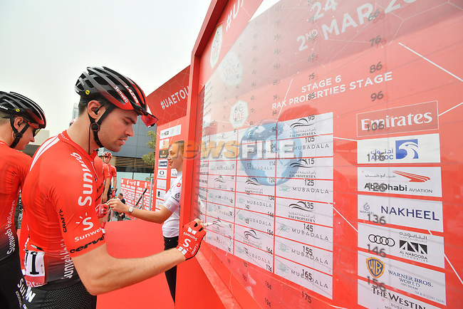 Tom Dumoulin (NED) Team Sunweb signs on before the start of Stage 6 of the 2019 UAE Tour, running 175km form Ajman to Jebel Jais, Dubai, United Arab Emirates. 1st March 2019.<br /> Picture: LaPresse/Massimo Paolone | Cyclefile<br /> <br /> <br /> All photos usage must carry mandatory copyright credit (© Cyclefile | LaPresse/Massimo Paolone)