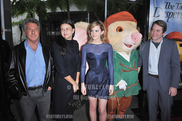 "LtoR: Dustin Hoffman, Tracey Ullman, Emma Watson & Matthew Roderick at the world premiere of their new movie ""The Tale of Despereaux"" at the Arclight Theatre, Hollywood..December 7, 2008  Los Angeles, CA.Picture: Paul Smith / Featureflash"