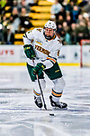 26 January 2019:  University of Vermont Catamount Defenseman Christian Evers, a Sophomore from Waukee, Iowa, in second period action against the Merrimack College Warriors at Gutterson Fieldhouse in Burlington, Vermont. The Catamounts defeated the Warriors 4-3 in overtime to take both games of their weekend America East conference series. Mandatory Credit: Ed Wolfstein Photo *** RAW (NEF) Image File Available ***