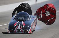 Mar. 31, 2012; Las Vegas, NV, USA: NHRA top alcohol funny car driver Brian Houghton during qualifying for the Summitracing.com Nationals at The Strip in Las Vegas. Mandatory Credit: Mark J. Rebilas-