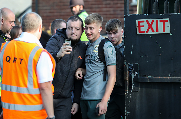 Leeds United's Jack Clarke steps off the coach<br /> <br /> Photographer Alex Dodd/CameraSport<br /> <br /> The Carabao Cup First Round - Salford City v Leeds United - Tuesday 13th August 2019 - Moor Lane - Salford<br />  <br /> World Copyright © 2019 CameraSport. All rights reserved. 43 Linden Ave. Countesthorpe. Leicester. England. LE8 5PG - Tel: +44 (0) 116 277 4147 - admin@camerasport.com - www.camerasport.com