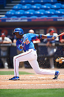 St. Lucie Mets center fielder Champ Stuart (2) at bat during a game against the Brevard County Manatees on April 17, 2016 at Tradition Field in Port St. Lucie, Florida.  Brevard County defeated St. Lucie 13-0.  (Mike Janes/Four Seam Images)