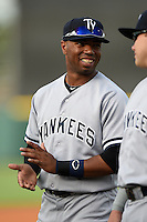 Tampa Yankees second baseman Angelo Gumbs (21) during introductions before a game against the Lakeland Flying Tigers on April 3, 2014 at Joker Marchant Stadium in Lakeland, Florida.  Tampa defeated Lakeland 4-0.  (Mike Janes/Four Seam Images)
