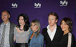 Jaime Murray & Tony Curran - Defiance with Bonnie Hammer (Chairman, NBCU Cable Entertainment and Cable Studios) (C) and Dave Howe )President Syfy) (L) at the Syfy Upfront 2012 on April 24, 2012 at the American Museum of Natural History, New York City  (Photo by Sue Coflin/Max Photos)