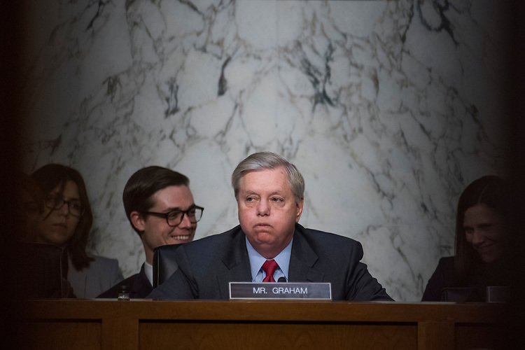 "UNITED STATES - MAY 8: Chairman Lindsey Graham, R-S.C., conducts a Senate Judiciary Crime and Terrorism Subcommittee hearing in Hart Building titled ""Russian Interference in the 2016 United States Election,"" featuring testimony by former Acting Attorney General Sally Yates and former Director of National Intelligence James Clapper on May 8, 2017. (Photo By Tom Williams/CQ Roll Call)"