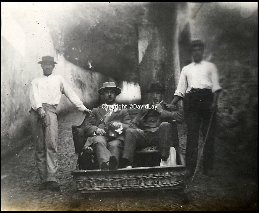 BNPS.co.uk(01202 558833)<br /> Pic: DavidLay/BNPS<br /> <br /> The British squad stopped in Madeira on the way out - Trying the street sled ride in Funchal.<br /> <br /> A rare photo album which documents the historic first British Lions' tour to Argentina in 1910 has been unearthed, and it shows rugby players were no strangers to a bit of mischief back then.<br /> <br /> The fascinating photos capture what went on both on and off the pitch as a squad of 16 English and three Scottish players embarked on a six match tour of the country culminating in a historic test match with Argentina.<br /> <br /> It was Argentina's first ever test match and the Lions emerged 28-3 winners in a game played at a polo ground in Buenos Aires.<br /> <br /> The photos capture the vibrant social side of the tour as the rugby players were not afraid to let their hair down.