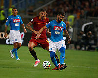Elseid Hysaj Aleksandar Kolarov  during the  italian serie a soccer match, AS Roma -  SSC Napoli       at  the Stadio Olimpico in Rome  Italy , 14 ottobre 2017