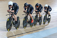 Tom Sexton, Pieter Bulling, Hugo Jones and Dylan Kennett during training, Avantidrome, Home of Cycling, Cambridge, New Zealand, Friday, March 17, 2017. Mandatory Credit: © Dianne Manson/CyclingNZ  **NO ARCHIVING**