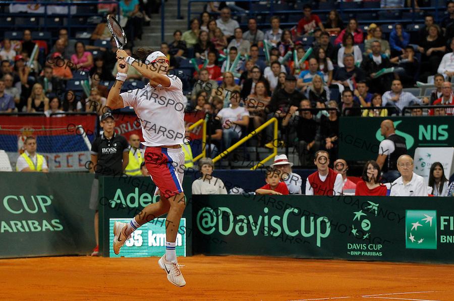 Tennis Tenis<br /> Davis Cup semifinal polufinale<br /> Serbia v Canada<br /> Nenad Zimonjic and Ilija Bozoljac v Daniel Nestor and Vasek Pospisil<br /> Ilija Bozoljac <br /> Beograd, 14.09.2013.<br /> foto: Srdjan Stevanovic/Starsportphoto &copy;