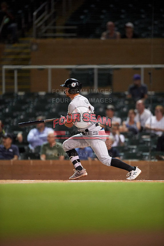 Glendale Desert Dogs Michael Busch (47), of the Los Angeles Dodgers organization, follows through on his swing during an Arizona Fall League game against the Salt River Rafters on October 23, 2019 at Salt River Fields at Talking Stick in Scottsdale, Arizona. Glendale defeated Salt River 6-5. (Zachary Lucy/Four Seam Images)