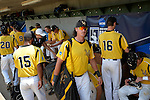 4 JUNE 2016: Millersville University arrive to the dugout during the Division II Men's Baseball Championship between Millersville University and Nova Southeastern University at the USA Baseball National Training Complex in Cary, NC.  Nova Southeastern University defeated Millersville University 8-6 to win the national title. Grant Halverson/NCAA Photos