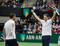 Rotterdam, The Netherlands. 16.02.2014. Michael Llodra(FRA)/Nicolas Mahut(FRA)(R) get the winning title for doubles at the ABN AMRO World tennis Tournament<br /> Photo:Tennisimages/Henk Koster