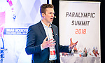 Dane Jensen presents on leadership during the  CPC Paralympic Summit 2018 at the Palliser Hotel in Calgary, Alberta on November 15, 2018.