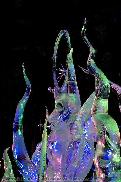 Sweet Motion of the Northern Lights, by Don Lowing, Peter Slavin, Jeffrey Meyers, Dean DeMarais. 2007 World Ice Art Championships, Multi block sculpture, second place, realistic.