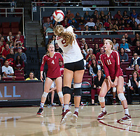 STANFORD, CA - November 3, 2018: Morgan Hentz, Kate Formico, Meghan McClure at Maples Pavilion. No. 1 Stanford Cardinal defeated No. 15 Colorado Buffaloes 3-2.