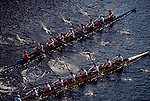 Rowing, Boston, Head of the Charles Rowing Regatta, Cambridge, Massachusetts, Two men's eight oared racing shells side by side,