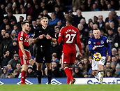 5th November 2017, Goodison Park, Liverpool, England; EPL Premier League Football, Everton versus Watford; Referee Graham Scott summons Christian Kabasele of Watford as Tom Cleverley looks on
