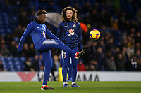 Callum Hudson-Odoi of Chelsea warms up ahead of kick-off as Ethan Ampadu looks on during Chelsea vs Newcastle United, Premier League Football at Stamford Bridge on 12th January 2019