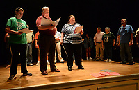 "NWA Democrat-Gazette/ANDY SHUPE<br /> Sarah Warnock (from left), Rusty Turner and Britt Graves rehearse a scene Wednesday, Sept. 18, 2019, for ""Gridiron"" in Giffels Auditorium in Old Main on the University of Arkansas campus in Fayetteville."
