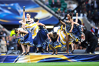 Dancers perform the can can at the pre-match entertainment at the European Rugby Champions Cup Final
