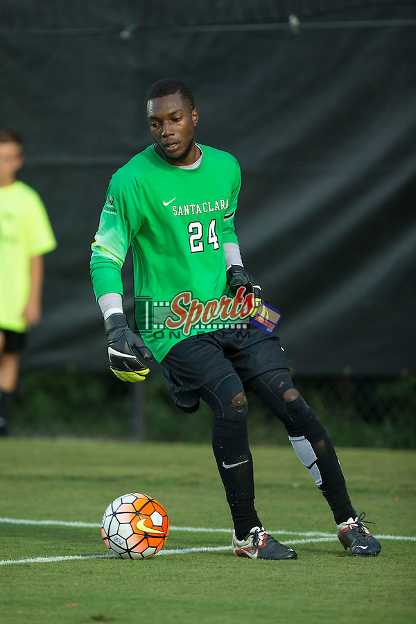 Santa Clara Broncos goalie Kendall McIntosh (24) controls the ball during first half action against the Wake Forest Demon Deacons at Spry Soccer Stadium on August 28, 2015 in Winston-Salem, North Carolina.  The Demon Deacons defeated the Broncos 1-0.  (Brian Westerholt/Sports On Film)