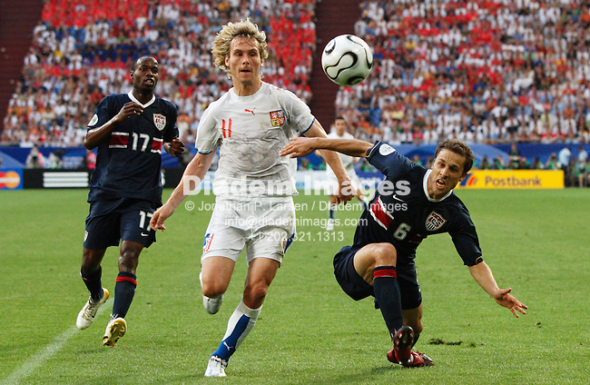 GELSENKIRCHEN, GERMANY - JUNE 12:  Pavel Nedved of the Czech Republic (11) and Steve Cherundolo of the United States (6) eye the ball during a FIFA World Cup soccer match June 12, 2006 in Gelsenkirchen, Germany.  (Photograph by Jonathan P. Larsen)