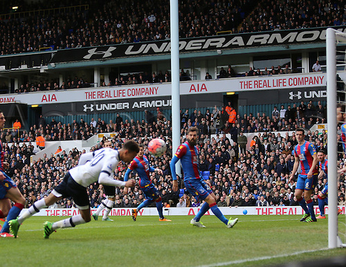 21.02.2016. White Hart Lane, London, England. Emirates FA Cup 5th Round. Tottenham Hotspur versus Crystal Palace. Dele Alli heads a shot on goal but is saved on the line from Cabaye
