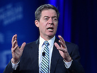 """National Harbor, MD - February 23, 2017: Governor Sam Brownback of Kansas participates in the """"States vs The State: How Governors are Reclaiming America's Promise"""" forum moderated by Richard Graber during the Conservative Political Action Conference at the Gaylord Hotel in National Harbor, MD, February 23, 2017.  (Photo by Don Baxter/Media Images International)"""