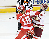 Jenelle Kohanchuk (BU - 19), Melissa Bizzari (BC - 4) - The Boston College Eagles defeated the Boston University Terriers 2-1 in the opening round of the Beanpot on Tuesday, February 8, 2011, at Conte Forum in Chestnut Hill, Massachusetts.