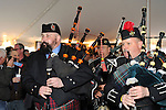 Fund raiser for firefighter Ray Pfeifer on Saturday, March 31, 2012, at East Meadow Firefighters Benevolent Hall, New York, USA.Tim McMaster (left) played bag pipes with The Boston Gaelic Fire Brigade Pipes and Drums band.