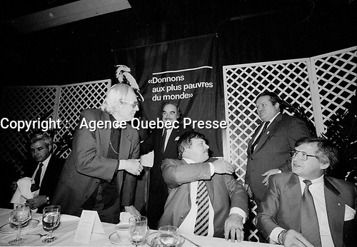 Jean Garon, Agriculture Minister, Quebec,  attend ALIMENT-AIDE Fundraiser of Cardinal Leger, November 14, 1985 at the Hilton-Bonaventure Hotel.<br /> <br /> Garon just died in July 2014.<br /> <br /> File Photo : Agence Quebec Presse - Pierre Roussel