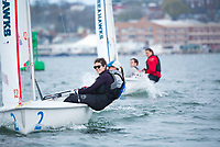 Crew Emma Sexton,'20, and Skipper Jen Killian,'19, join other members of the Salve Regina Sailing Team in Newport Habor.
