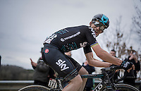 Michal Kwiatkowski (POL/SKY) checking just how far behind the competition is while powering solo towards the finish<br /> <br /> 11th Strade Bianche 2017